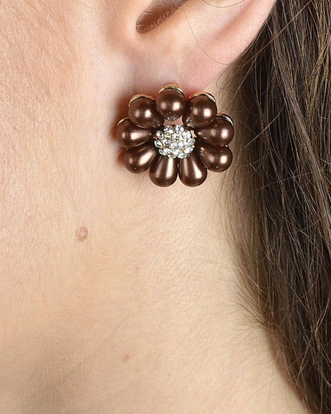 Rhinestone Studded Floral Patterned Earrings