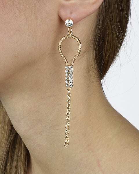 Rhinestone Studded Long Danglers with Tassel Accent