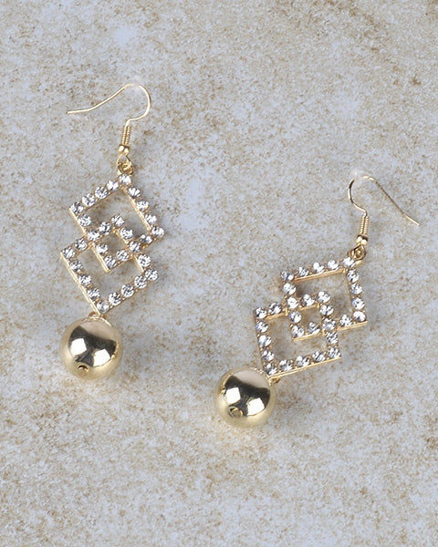 Rhinestone Intertwined Diamond Shape Danglers with Metallic Bead