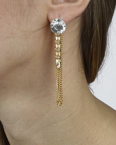 Rhinestone-encrusted studs and chained threaders