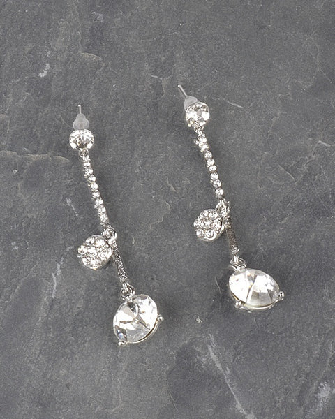 Long Drop Earrings with Studded Crystals and Stones