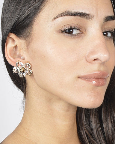 Floral Pattern Multi Faceted Crystal Earrings