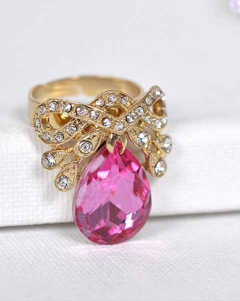 Crystal and Stone Studded Adjustable Ring