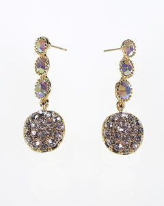 Round Crystal Studded Three Tiers Dangle Earrings