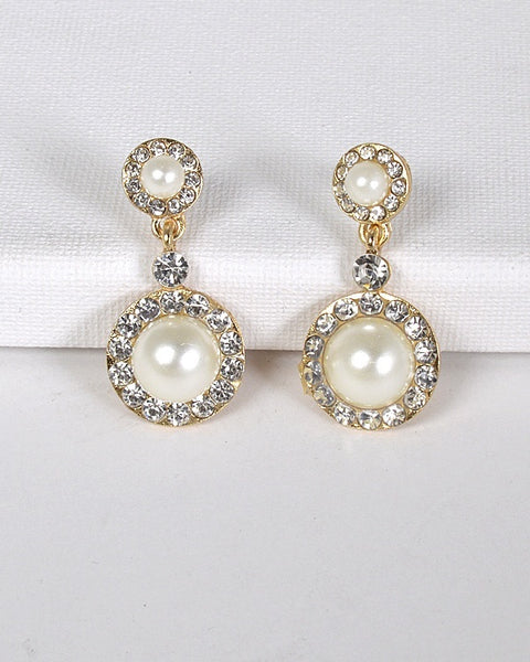 Faux Pearl Round Crystal Drop Earrings