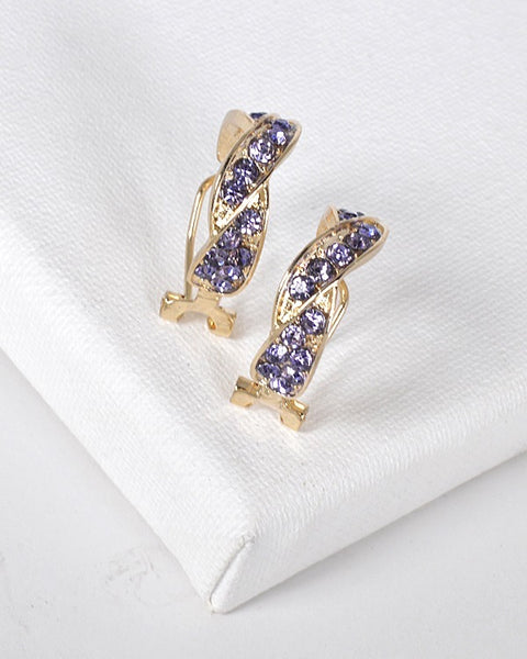 Twisted Crystal Studded Earrings