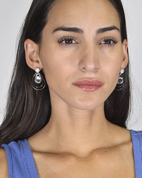 Multi Layer Tear Drop Crystal Studded Danglers id.31438