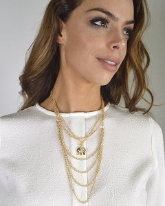 Multi Strand Metallic Pendant Necklace id.31569