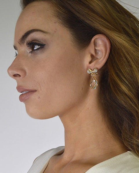 Crystal and Bow Embellished Drop Earrings id.31589
