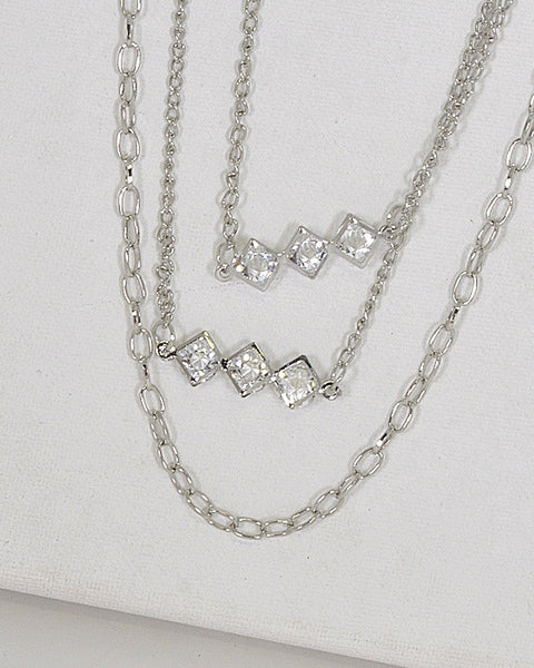 Layered Crystal Studded Necklace