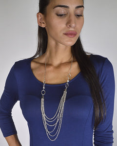 Metal Embellished Layered Curb Chain Necklace