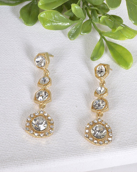 Crystal and Stone Embellished Drop Earrings