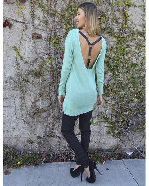 Full Sleeves Deep Neck Long Knitted Top with Leather X Back