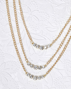 Multi Strand Crystal Embellished Rolo Chain Necklace