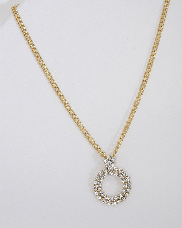 Circular Stone Studded Pendant Necklace with Rolo Chain