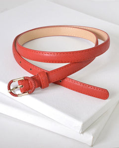 Faux Leather Adjustable Belt with Decorative Oval Buckle