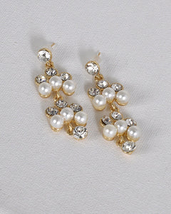 Crystal and Pearl Embellished Drop Earrings