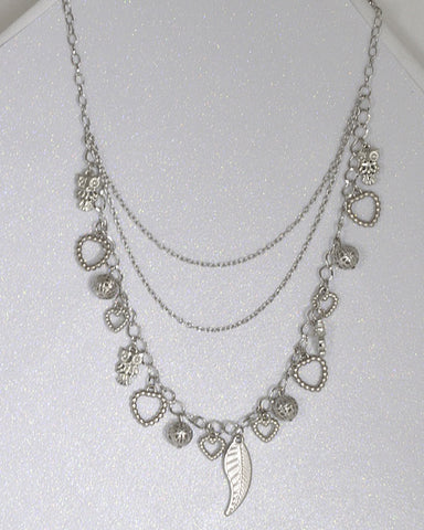 Multi Strand Rolo Chain Necklace with Metal Detailing