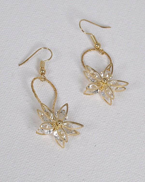 Fishhook Drop Earrings with 3D Floral Pattern