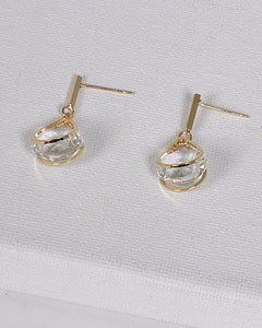 Drop Earrings with Clear Crystals