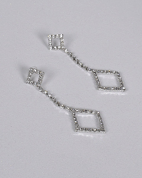 Crystal Studded Diamond Shaped Drop Earrings