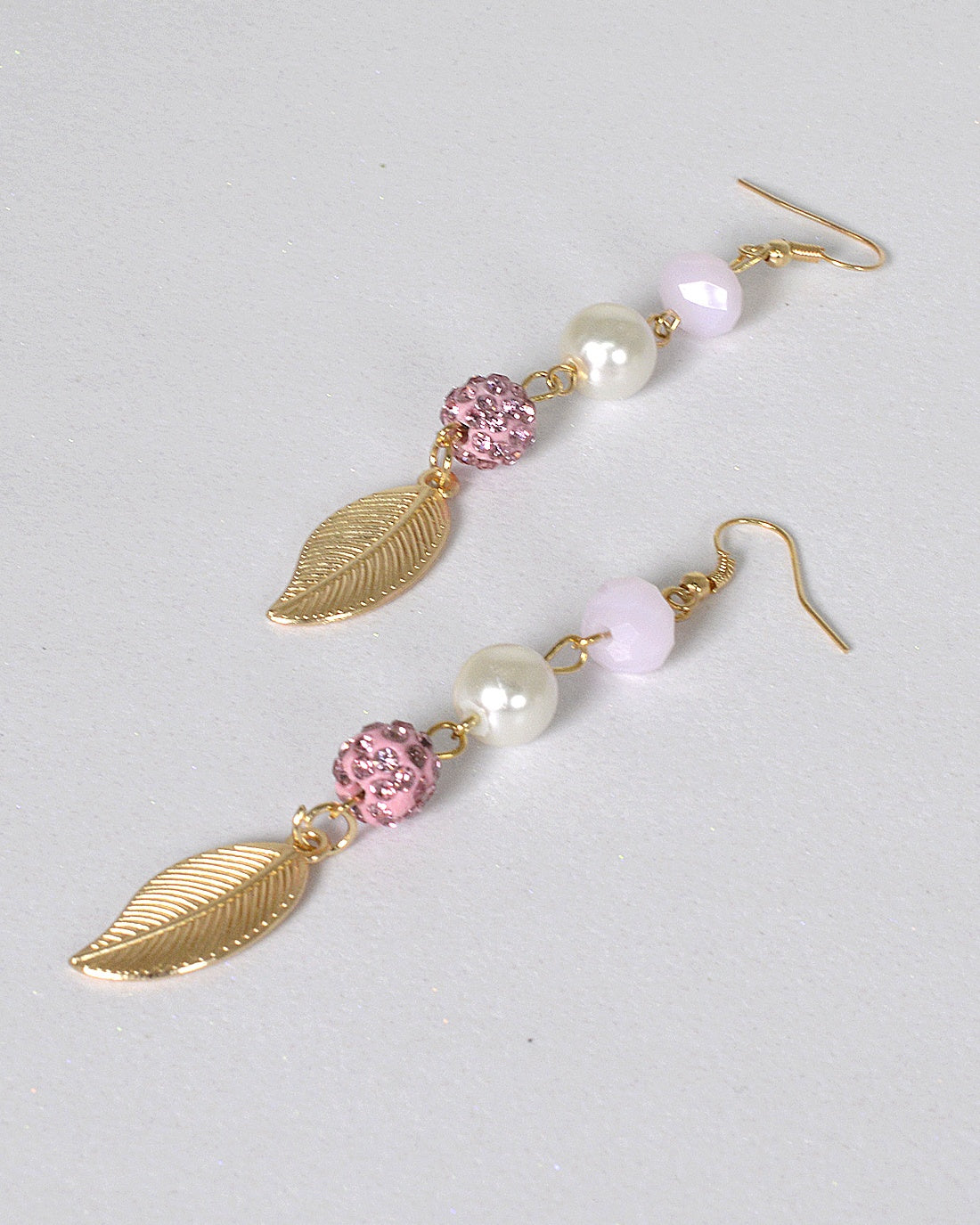Metallic Leaf and Pearl Accent Fishhook Earrings