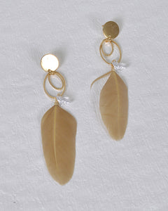 Metallic Accent and Feather Drop Earrings