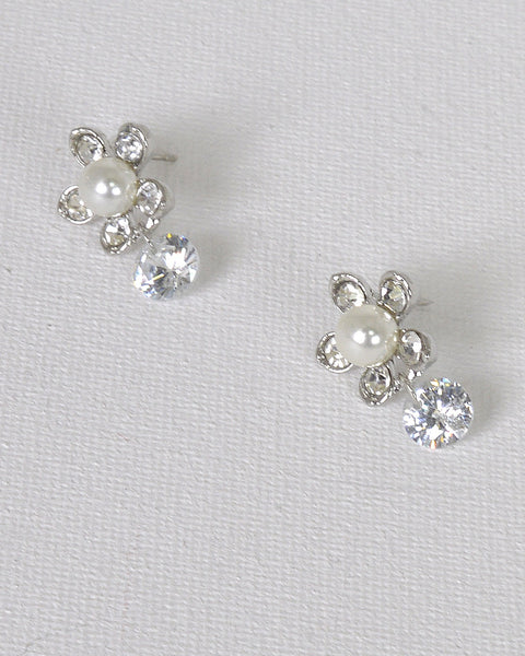 Pearl and Crystal Embellished Floral Design Drop Earrings