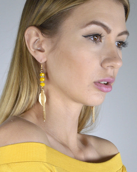 Metallic Leaf Accent Tassel Style Fishhook Drop Earrings