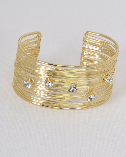 Crystal Studded Multiple Strand Open End Bracelet