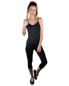 Solid Spaghetti Strap Active Wear