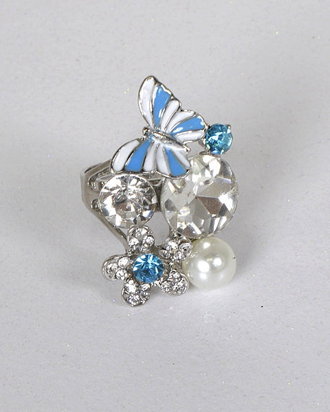 Crystal Embellished Floral and Butterfly Accented Ring