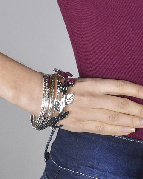 Set of Textured Bangles and Leaf Pattern Bracelet