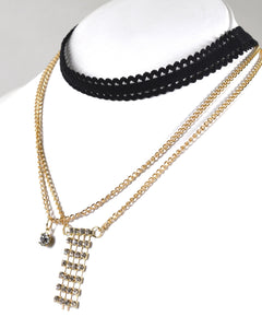 Layered Cutout Lace Band and Rolo Chain Choker Necklace