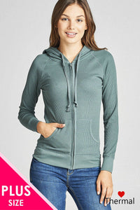 Plus size kangaroo front pocket french terry hoodie