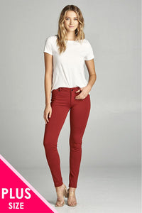 Ladies fashion plus size 5-pockets shape skinny ponte pants