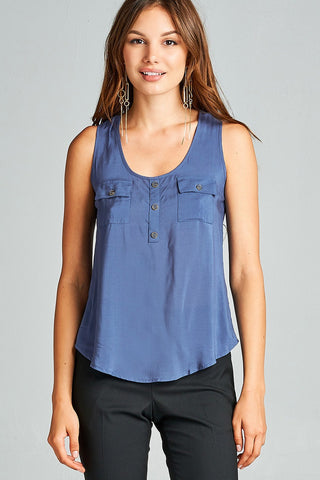 Ladies fashion woven tank top w/ front double pockets & button detail
