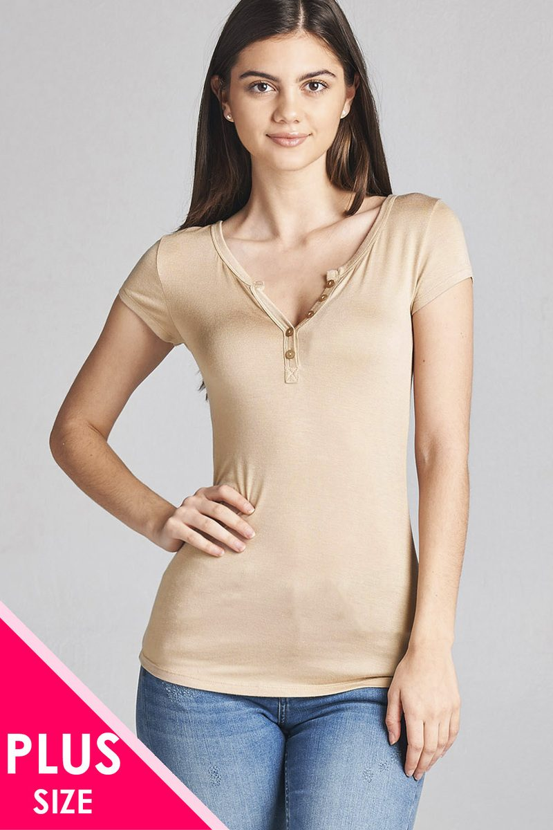 Ladies fashion plus size short sleeve button placket top