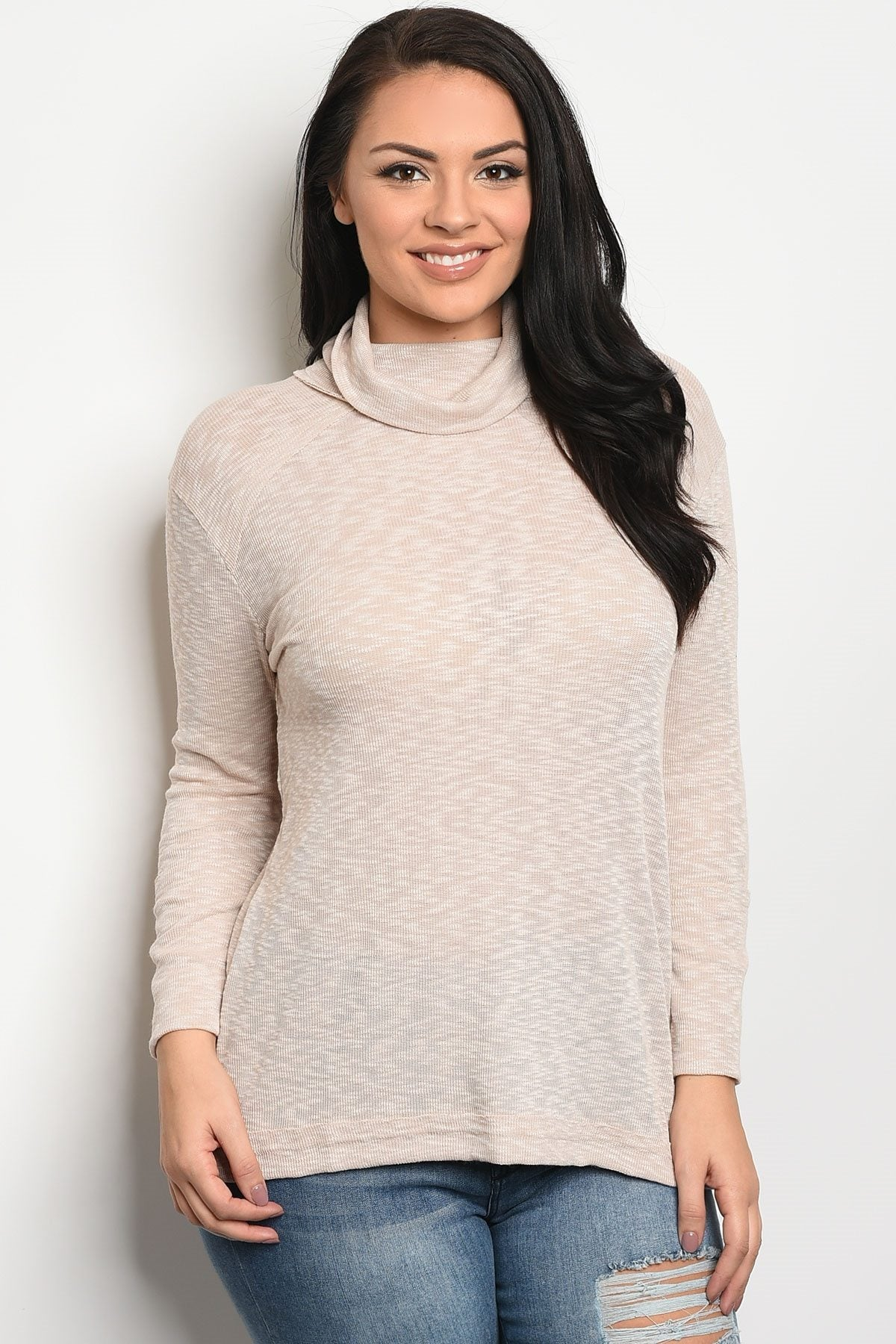 Ladies fashion plus size long sleeve knit top that features a turtle neck