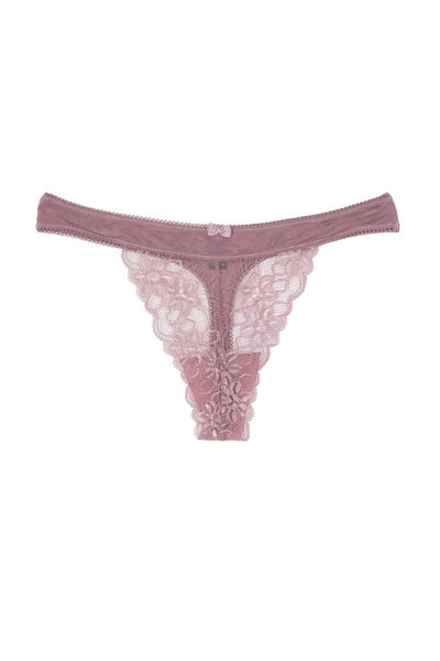 Ladies floral lace overlay thong