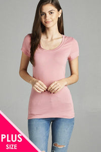Ladies fashion plus size basic short sleeve scoop neck tee
