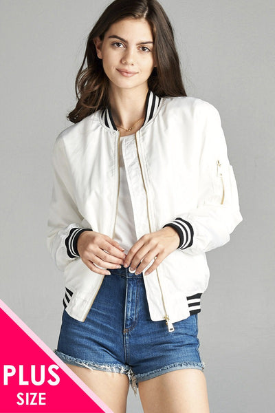 Ladies fashion plus size light weight bomber jacket w/ varsity stripe trim