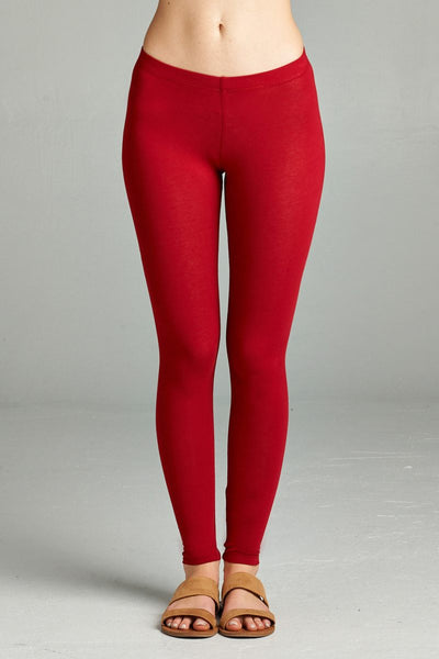 Ladies fashion plus size basic full-length cotton spandex leggings