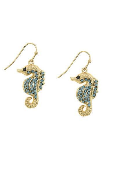 Color rhinestone accent sea horse drop earrings