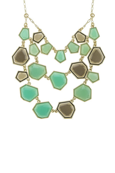 Irregular shape faux gem three layer necklace set