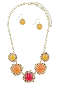 Colorful round faux gem statement necklace set
