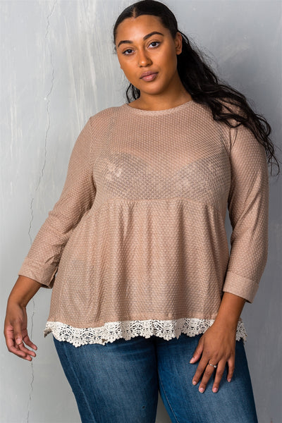 Ladies fashion plus size mocha babydoll swing knit crochet plus size top