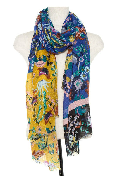 Color block floral pattern oblong scarf