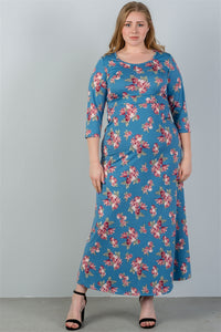 Ladies fashion plus size  sky blue & floral print maxi dress