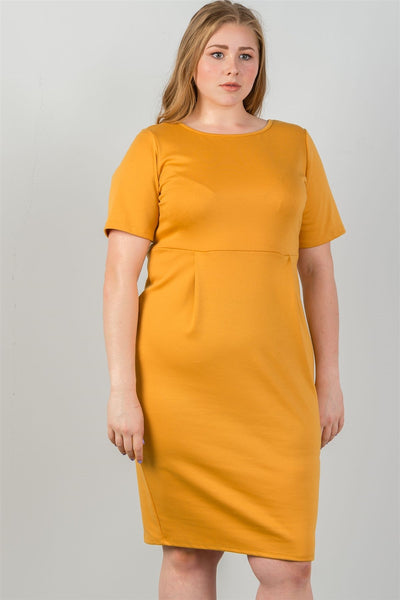 Ladies fashion plus size mustard midi dress